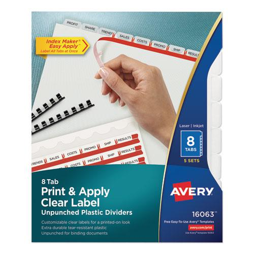 Print and Apply Index Maker Clear Label Unpunched Dividers with Printable Label Strip, 8-Tab, 11 x 8.5, Clear, 5 Sets. Picture 1