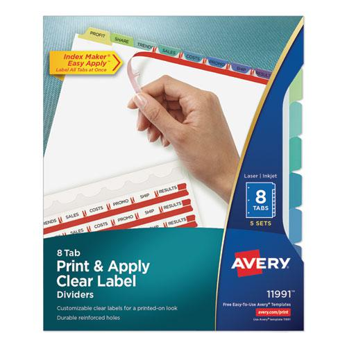Print and Apply Index Maker Clear Label Dividers, 8 Color Tabs, Letter, 5 Sets. Picture 1