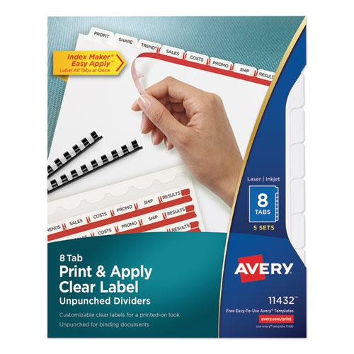 Print and Apply Index Maker Clear Label Unpunched Dividers, 8Tab, Letter, 5 Sets. Picture 1