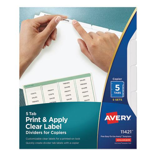 Print and Apply Index Maker Clear Label Dividers, Copiers, 5-Tab, Letter, 5 Sets. Picture 1