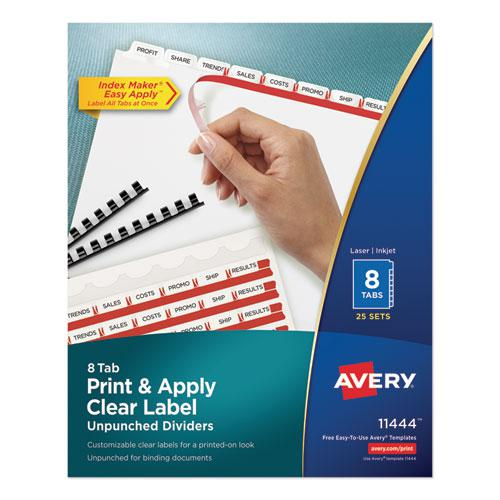 Print and Apply Index Maker Clear Label Unpunched Dividers, 8-Tab, Ltr, 25 Sets. Picture 1