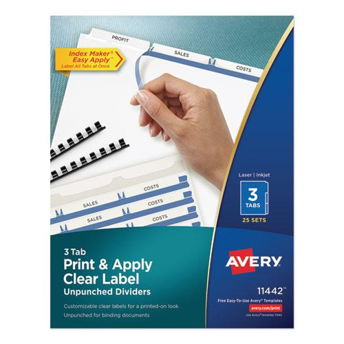 Print and Apply Index Maker Clear Label Unpunched Dividers, 3-Tab, Ltr, 25 Sets. Picture 1