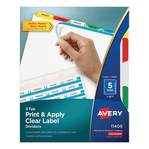 Print and Apply Index Maker Clear Label Dividers, 5 Color Tabs, Letter. Picture 1