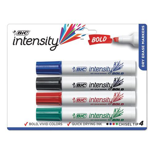 Intensity Bold Tank-Style Dry Erase Marker, Broad Chisel, Assorted Colors, 4/Set. Picture 1