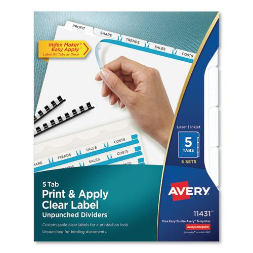 Print and Apply Index Maker Clear Label Unpunched Dividers, 5Tab, Letter, 5 Sets. Picture 1
