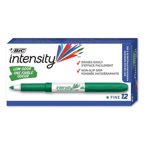 Intensity Low Odor Dry Erase Marker, Fine Bullet Tip, Green, Dozen. Picture 1