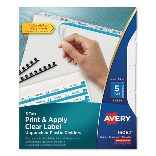 Print and Apply Index Maker Clear Label Unpunched Dividers with Printable Label Strip, 5-Tab, 11 x 8.5, Clear, 5 Sets. Picture 1