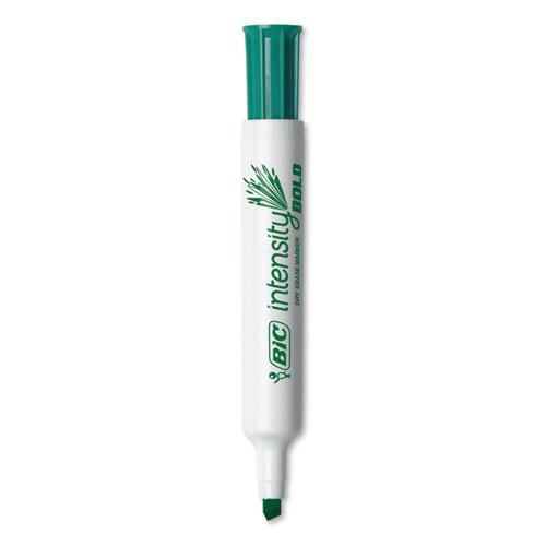 Intensity Bold Tank-Style Dry Erase Marker, Broad Chisel Tip, Green, Dozen. Picture 3
