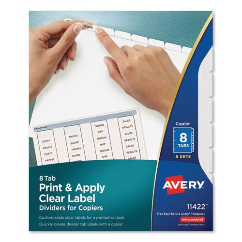 Print and Apply Index Maker Clear Label Dividers, Copiers, 8-Tab, Letter, 5 Sets. Picture 1