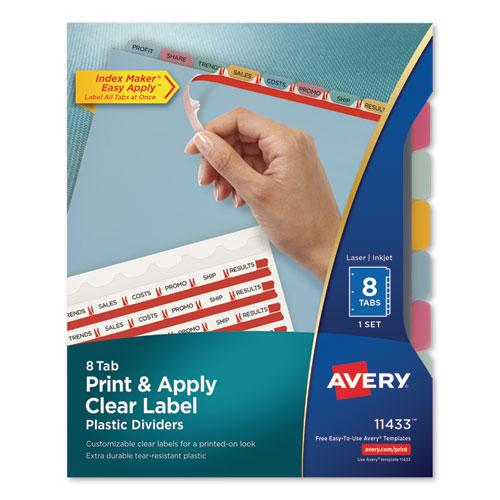 Print and Apply Index Maker Clear Label Plastic Dividers with Printable Label Strip, 8-Tab, 11 x 8.5, Translucent, 1 Set. Picture 1