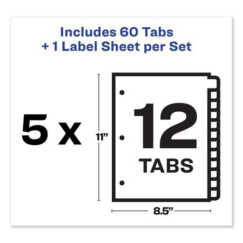 Print and Apply Index Maker Clear Label Dividers, 12 Color Tabs, Letter, 5 Sets. Picture 5