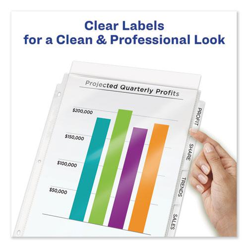 Print and Apply Index Maker Clear Label Sheet Protector Dividers with White Tabs, 8-Tab, 11 x 8.5, Clear, 1 Set. Picture 3