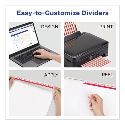 Print and Apply Index Maker Clear Label Plastic Dividers with Printable Label Strip, 8-Tab, 11 x 8.5, Translucent, 5 Sets. Picture 6