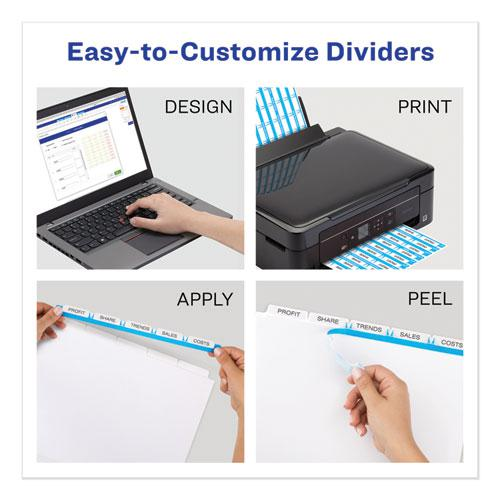 Print and Apply Index Maker Clear Label Unpunched Dividers with Printable Label Strip, 5-Tab, 11 x 8.5, Clear, 5 Sets. Picture 5