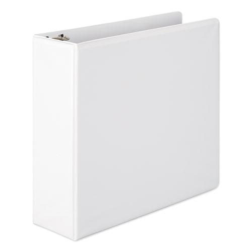 """Heavy-Duty Round Ring View Binder with Extra-Durable Hinge, 3 Rings, 3"""" Capacity, 11 x 8.5, White. Picture 1"""
