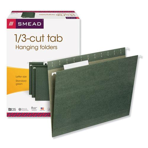 Hanging Folders, Letter Size, 1/3-Cut Tab, Standard Green, 25/Box. Picture 3
