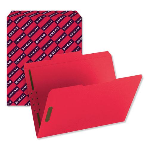 Top Tab Colored 2-Fastener Folders, 1/3-Cut Tabs, Letter Size, Red, 50/Box. Picture 8