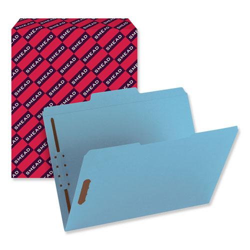 Top Tab Colored 2-Fastener Folders, 1/3-Cut Tabs, Letter Size, Blue, 50/Box. Picture 3