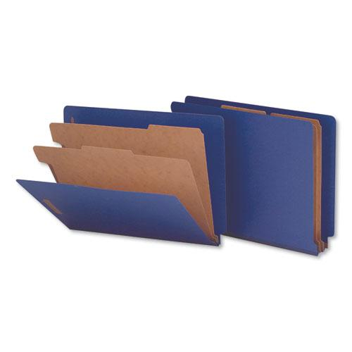 Deluxe Six-Section Colored Pressboard End Tab Classification Folders, 2 Dividers, Letter Size, Cobalt Blue Cover, 10/Box. Picture 1