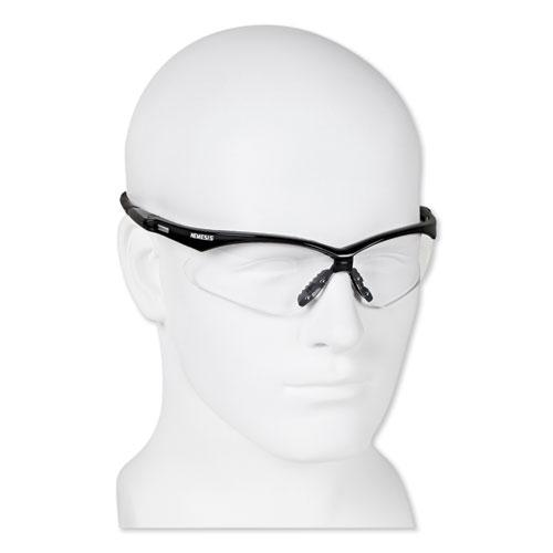 Nemesis Safety Glasses, Black Frame, Clear Lens. Picture 2