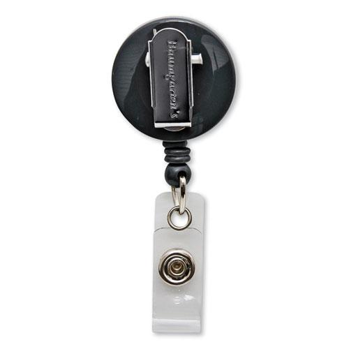 """Swivel-Style Spring-Clip ID Card Reel, 30"""" Extension, Black. Picture 5"""