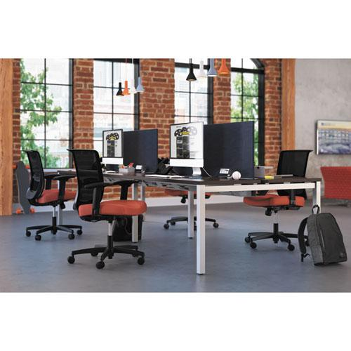 Convergence Mid-Back Task Chair with Syncho-Tilt Control with Seat Slide, Supports up to 275 lbs, Red Seat, Black Back/Base. Picture 2