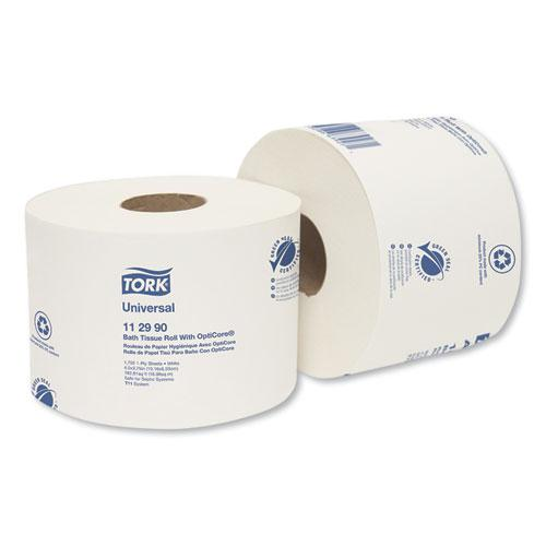 Universal Bath Tissue Roll with OptiCore, Septic Safe, 1-Ply, White, 1755 Sheets/Roll, 36/Carton. Picture 1
