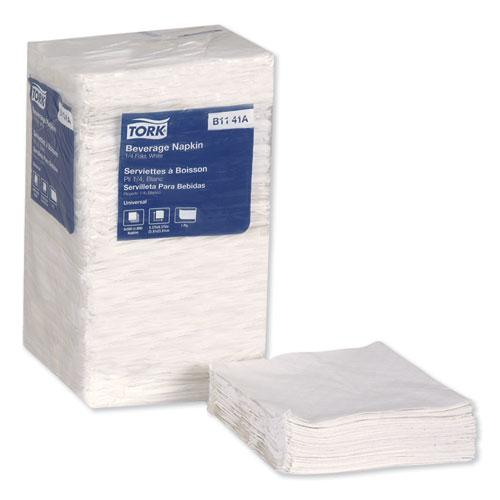 Universal Beverage Napkin, 1-Ply,9.125x9.125, 1/4 Fold,Poly-Pack,White, 4000/CT. Picture 2