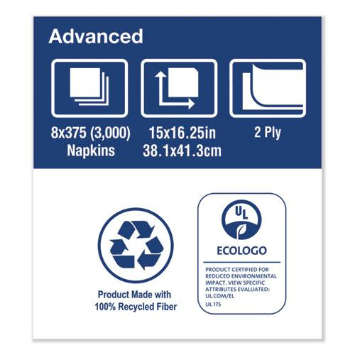 """Advanced Dinner Napkins, 2-Ply, 15"""" x 16.25"""", White, 375/Pack, 8 Packs/Carton. Picture 6"""