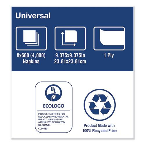 Universal Beverage Napkin, 1-Ply,9.125x9.125, 1/4 Fold,Poly-Pack,White, 4000/CT. Picture 8