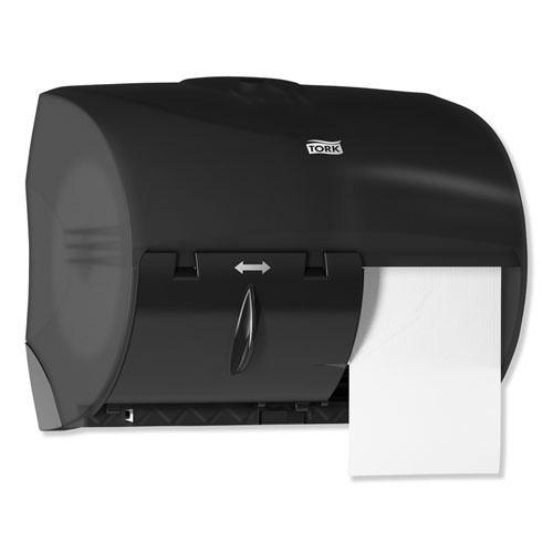 Twin Bath Tissue Roll Dispenser for OptiCore, 11.06 x 7.18 x 8.81, Black. Picture 3