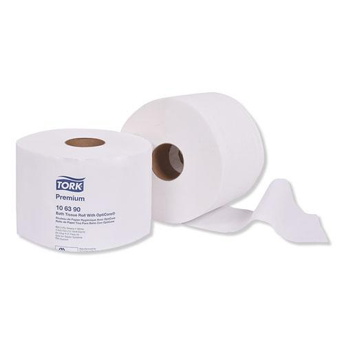Premium Bath Tissue Roll with OptiCore, Septic Safe, 2-Ply, White, 800 Sheets/Roll, 36/Carton. Picture 1
