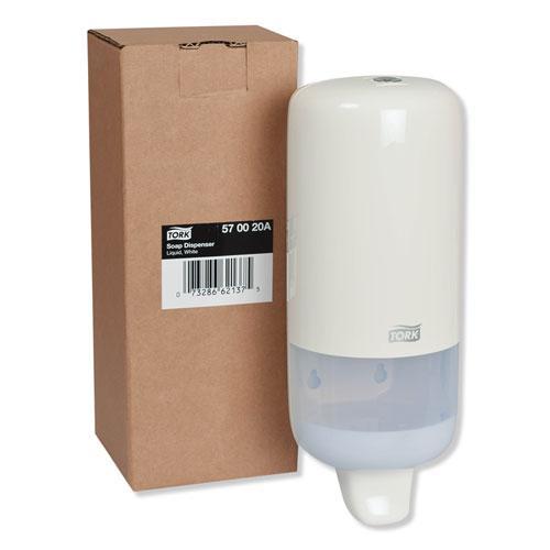 "Elevation Liquid Skincare Dispenser, 1 L Bottle; 33 oz Bottle, 4.4"" x 4.5"" x 11.5"", White. Picture 3"