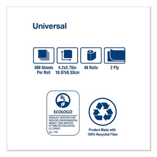 Universal Bath Tissue, Septic Safe, 2-Ply, White, 500 Sheets/Roll, 48 Rolls/Carton. Picture 5