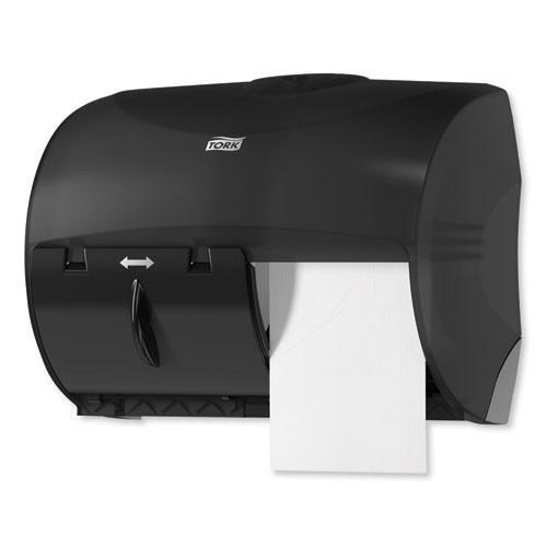 Twin Bath Tissue Roll Dispenser for OptiCore, 11.06 x 7.18 x 8.81, Black. Picture 7