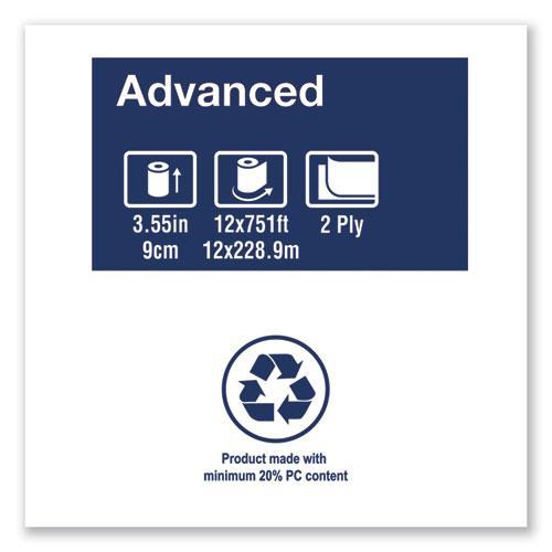 "Advanced Jumbo Bath Tissue, Septic Safe, 2-Ply, White, 3.48"" x 751 ft, 12 Rolls/Carton. Picture 2"