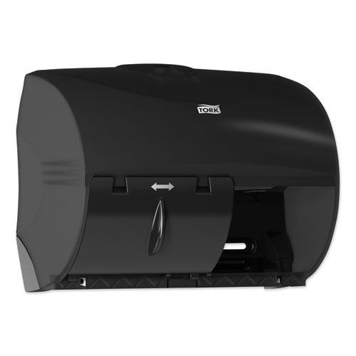Twin Bath Tissue Roll Dispenser for OptiCore, 11.06 x 7.18 x 8.81, Black. Picture 2
