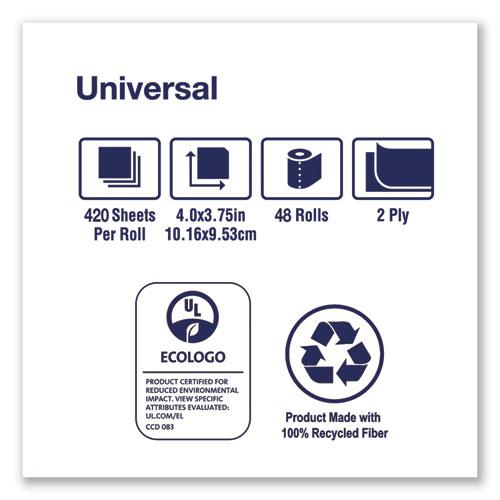 Universal Bath Tissue, Septic Safe, 2-Ply, White, 420 Sheets/Roll, 48 Rolls/Carton. Picture 3