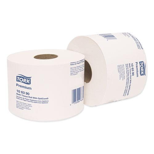 Premium Bath Tissue Roll with OptiCore, Septic Safe, 2-Ply, White, 800 Sheets/Roll, 36/Carton. Picture 2