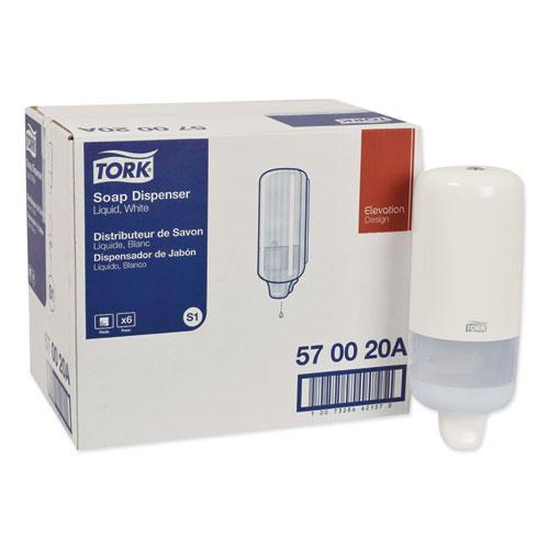 "Elevation Liquid Skincare Dispenser, 1 L Bottle; 33 oz Bottle, 4.4"" x 4.5"" x 11.5"", White. Picture 1"