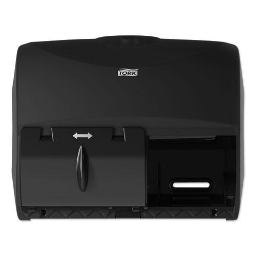 Twin Bath Tissue Roll Dispenser for OptiCore, 11.06 x 7.18 x 8.81, Black. Picture 1