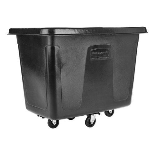 Metal Frame Cube Truck, Rectangular, Polyethylene, 400 lb Capacity, 12 cu ft, Black. Picture 1