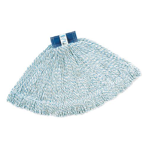 Super Stitch Finish Mops, Cotton/Synthetic, White, Large, 1-in. Blue Headband. Picture 1