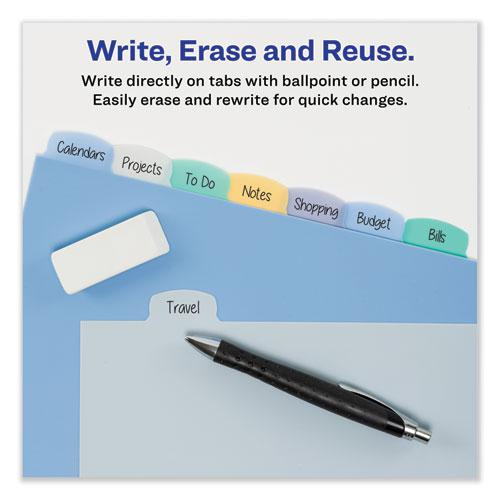 Write and Erase Big Tab Durable Plastic Dividers, 3-Hold Punched, 8-Tab, 11 x 8.5, Assorted, 1 Set. Picture 7