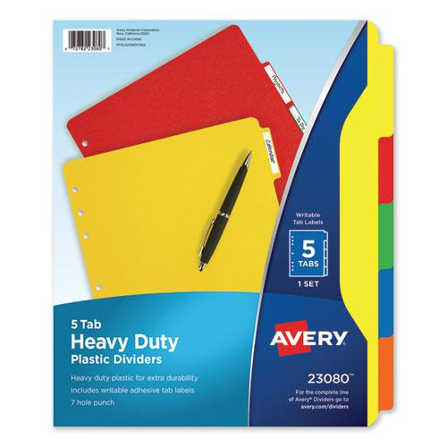 Heavy-Duty Plastic Dividers with Multicolor Tabs and White Labels , 5-Tab, 11 x 8.5, Assorted, 1 Set. Picture 1