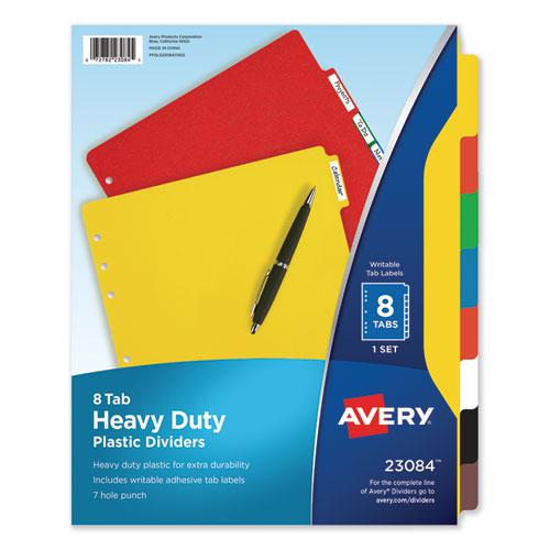 Heavy-Duty Plastic Dividers with Multicolor Tabs and White Labels , 8-Tab, 11 x 8.5, Assorted, 1 Set. Picture 1