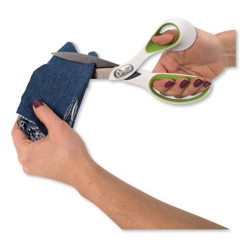 """CarboTitanium Bonded Scissors, 9"""" Long, 4.5"""" Cut Length, White/Green Bent Handle. Picture 4"""