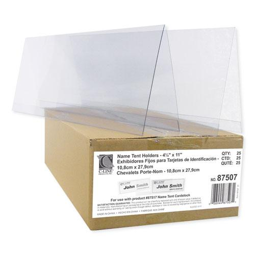 """Tent Card Holders, 4 1/4"""" x 11"""", Rigid Heavyweight Clear Plastic, 25/Box. Picture 3"""