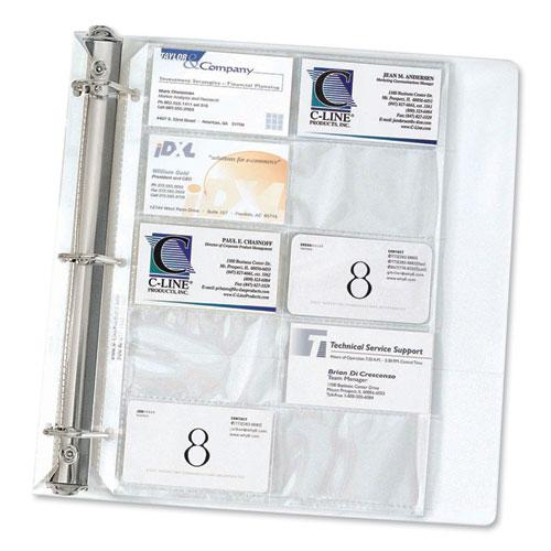 Business Card Binder Pages, Holds 20 Cards, 8 1/8 x 11 1/4, Clear, 10/Pack. Picture 1