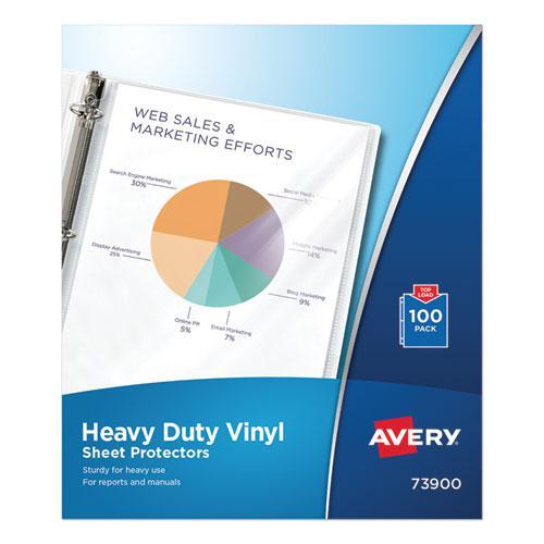 Top-Load Vinyl Sheet Protectors, Heavy Gauge, Letter, Clear, 100/Box. Picture 1